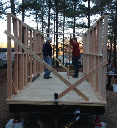 Lifting a framed wall on my tiny house