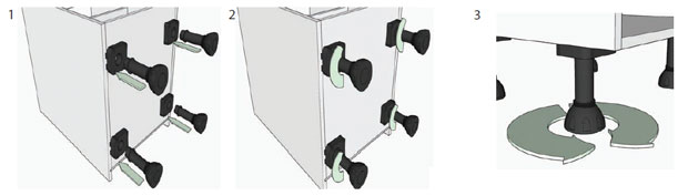 Adjusting kitchen unit-legs