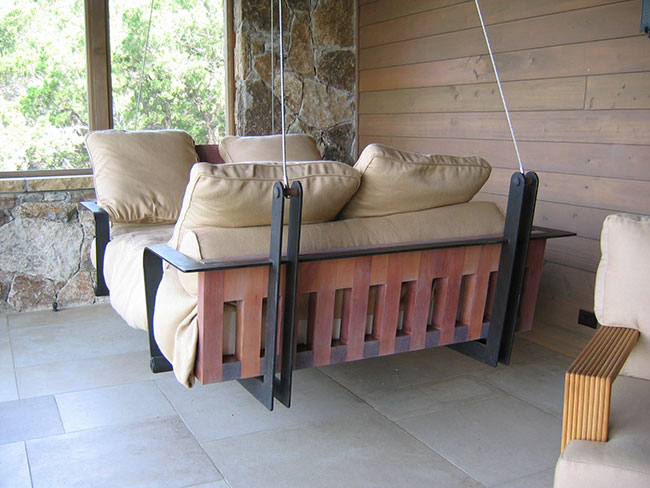 Masculine porch swing design
