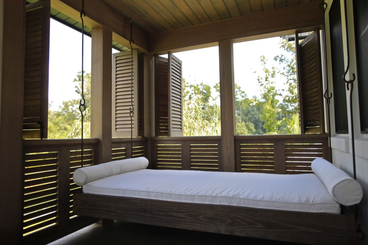 Outdoor sleeping porch hanging bed