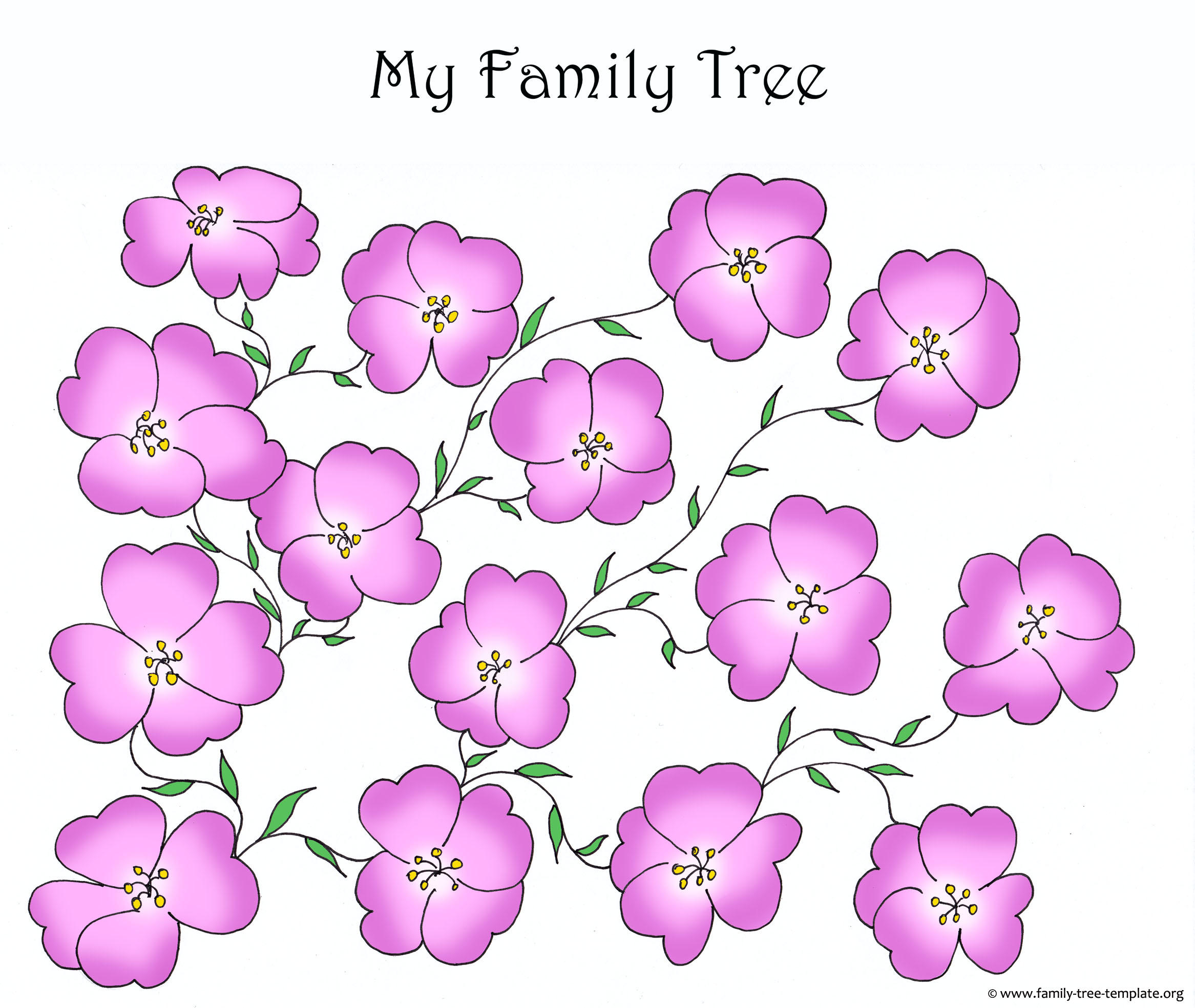 Family tree form with pink flowers.