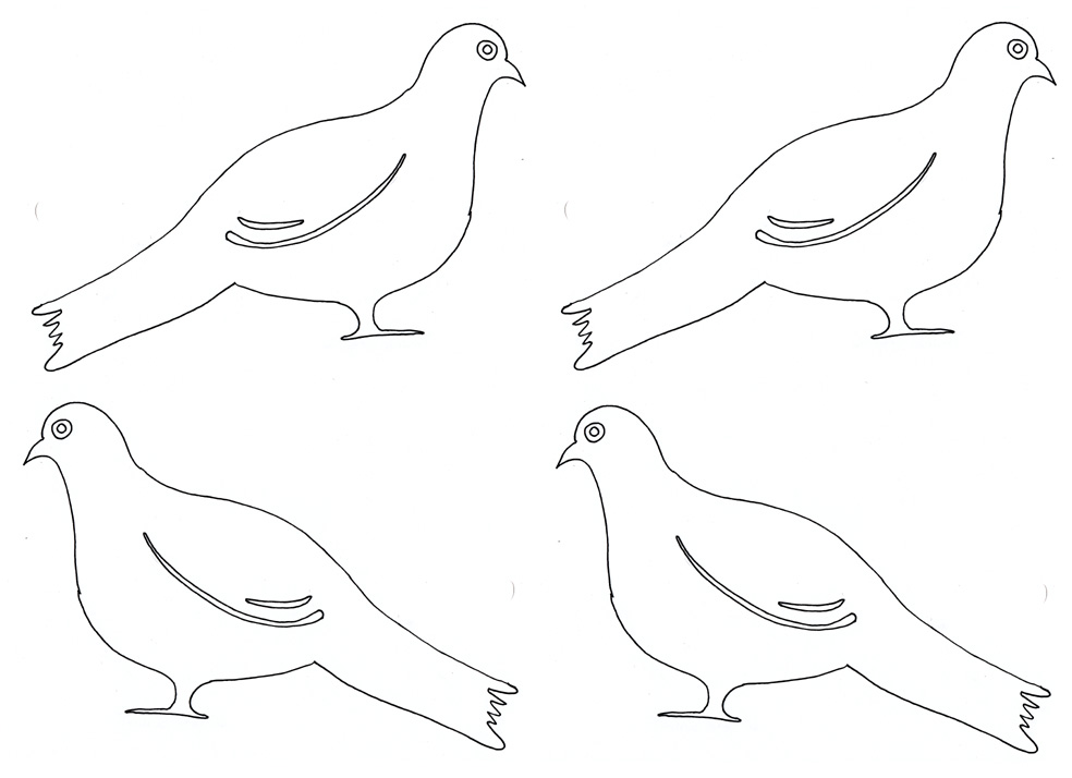 Doves or pigeons to print out and color and glue on the family tree chart.