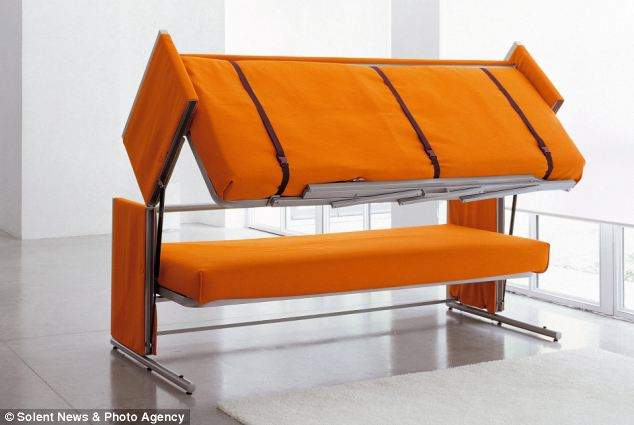 Users simply lift up the cushions, which allows the bottom of the sofa to effortlessly move to the top - transforming it into a bunk bed