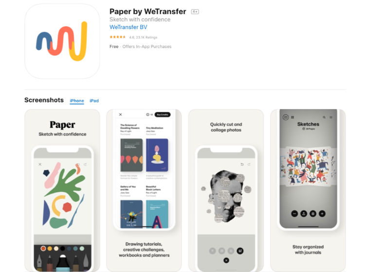 Paper Wetransfer - free drawing app