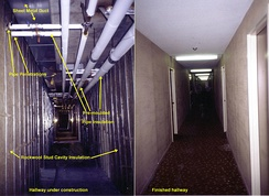 Common insulation applications in apartment building in Ontario, Canada.
